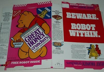 1970's Nabisco Great Honey Crunchers Cereal Box w/ Winnie the Pooh