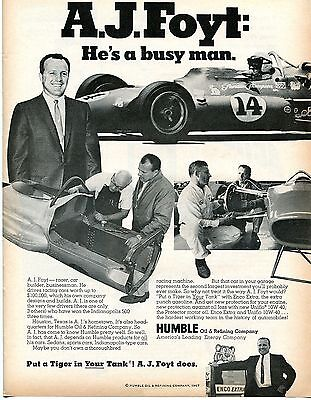 1967 Humble Oil Company Indy 500 Champion #14 AJ Foyt He's a Busy Man Print Ad