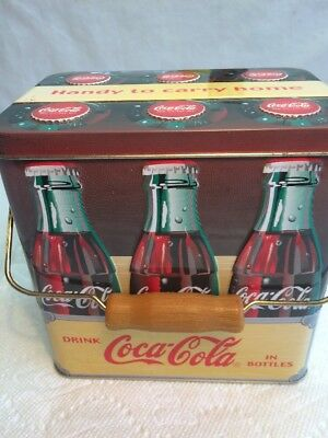 "6 Bottle Coca Cola Tin ""handy To Carry Home"" Carrier With Handle"