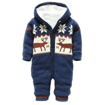 Baby Rompers Thick Newborn Boys Girls Romper Knitted Sweater Hooded Outwear Y6J
