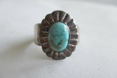Vintage 925 Sterling Silver Turquoise Thailand Ring Size 8 & Adjustable