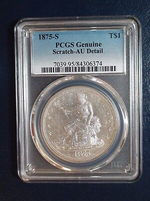 1875 S TRADE DOLLAR PCGS AU SAN FRANCISCO $1 Coin Auction Starts At 99 Cents!