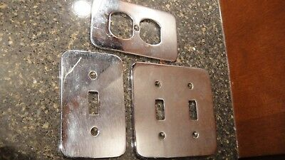 Vintage Chrome Switchplates -1 Single Switch, 1 Double Switch, One Outlet