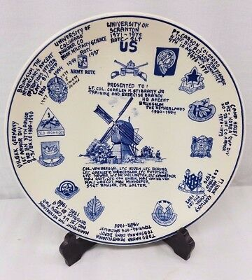 Delfts Blauw Rarer Wall Plate Military History and Traditional Windmill