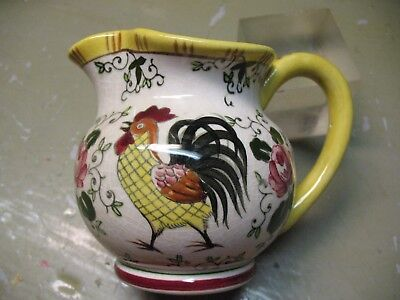 Very  Early  Ucagco   Early  Provincial  Underglaze  Creamer  Rooster  Roses