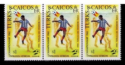 Turks and Caicos stamps,1982 Soccer World Championship  SC# 520 MNH Strip of 3