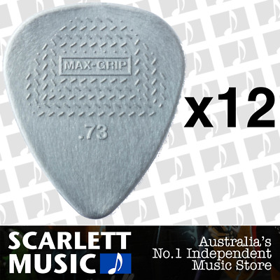 12 X Jim Dunlop Max Grip Nylon 0.73mm .73 Gauge Grey Guitar Picks *TWELVE PICKS*
