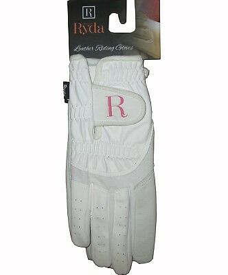 (X-Small) - Ryda Bright White Ladies Dressage Competition Horse Riding Gloves