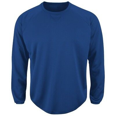 (3X, Royal) - Majestic Adult Long Sleeve Fleece Pull-Over. Majestic Athletic