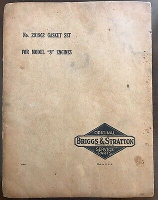"Briggs & Stratton Operating & Maintenance w/#291962 Gasket Set -Model ""8"" Engine"