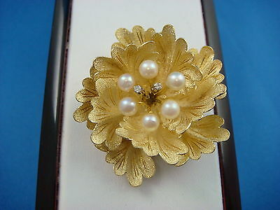 Amazing 18K Gold Pearls & Diamonds, Flower Design High Quality Brooch 11.9 Grams