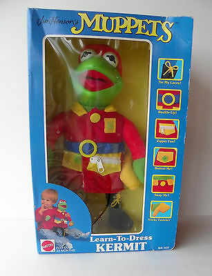 Kermit Learn to Dress Frog 1990 Fireman Doll Mattel No. 5611