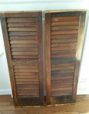 "SET of 2 VINTAGE FIXED LOUVER INTERIOR WINDOW SHUTTER PANELS 12"" x 35"" each  d18"
