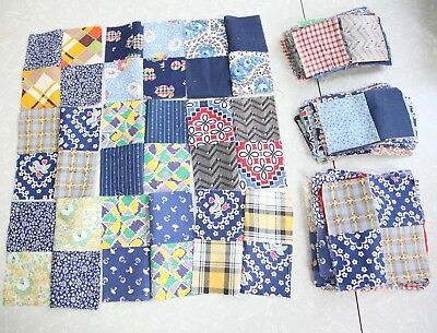 80+ Piece lot Hand Stitched Antique Quilt Blocks Project Mourning Print Feedsack