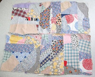 "10 Vintage Quilt Block 17"" Square Patchwork Feedsack Calico Shabby Country Crazy"