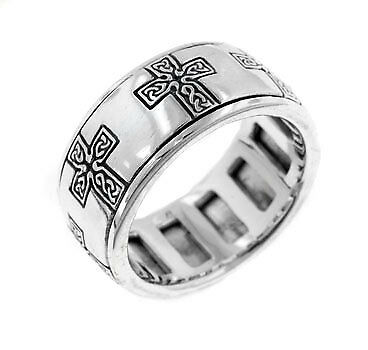 Sterling Silver Celtic Knot Cross Meditation Spin Band Ring