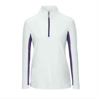 (XX-Small, White/Grape) - Tailored Sportsman Ladies IceFil Zip Top