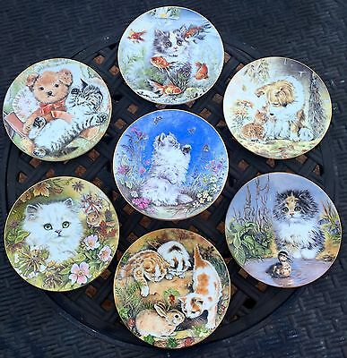 Kitten Encounters Plate Bone China Royal Worcester by Pam Cooper 1986 Lot of 7