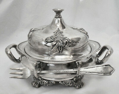 EXQUISITE!! Atq FORBES SILVER CO #214 Ornate Quad Plate Ftd CHEESE/BUTTER SERVER