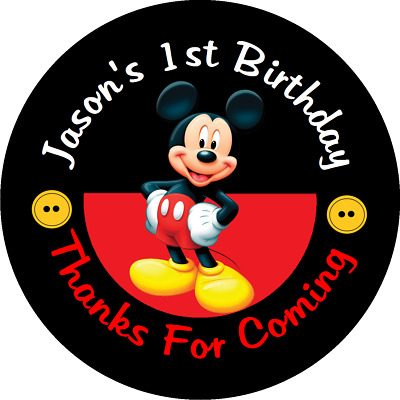 Mickey Mouse Birthday Personalized Round Party Stickers Favors Labels All Sizes