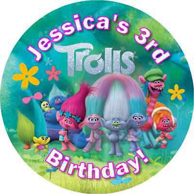 Dreamworks Trolls Personalized Birthday Party Round Stickers Favors Labels