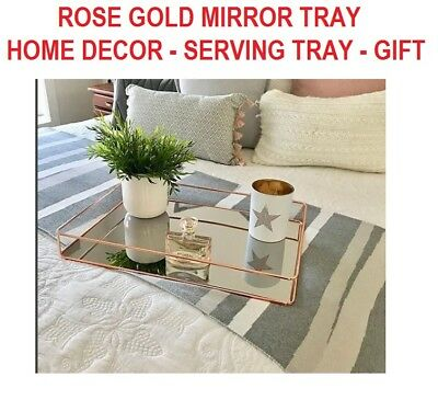 Rose Gold Mirror Serving Tray -  Home Decor Party Fun Wedding Bar Xmas Gift