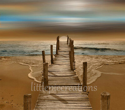 Coastal Beach Pier Modern Brown Blue Wall Art Home Decor Matted Picture