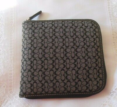 Coach CD Holder Black Signature Zip-Around Holds 12 CD's
