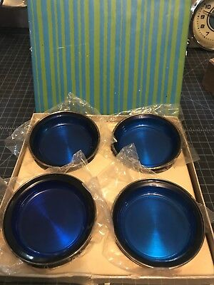 FB Rogers Silver Co Blue Glass And Silver Plate Coasters Set Of 4, Original Box