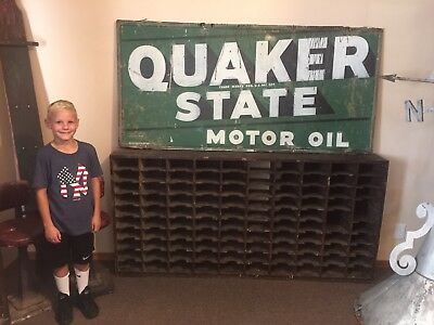 Original Quaker State Motor Oil Tin Metal Sign gas service station
