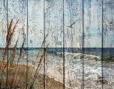 Brown Blue Rustic Coastal Theme Bathroom Bedroom Home Decor Wall Art Picture