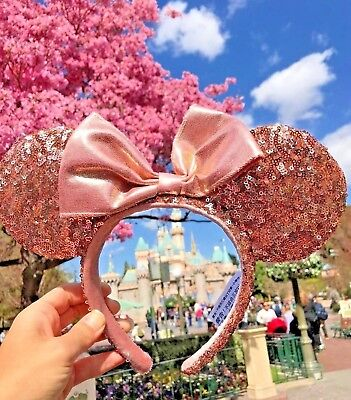 Disney Parks Disneyland Minnie Mouse Rose Gold Pink Ears Sequin Headband