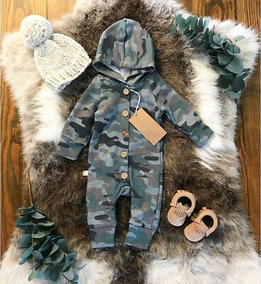 AU Stock Newborn Baby Boys Girls Hooded Romper Bodysuit Jumpsuit Outfits Clothes
