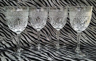 4 Cristal D'Arques-Durand Antique Clear, Cut Wine Glasses 7 inches (no knob)
