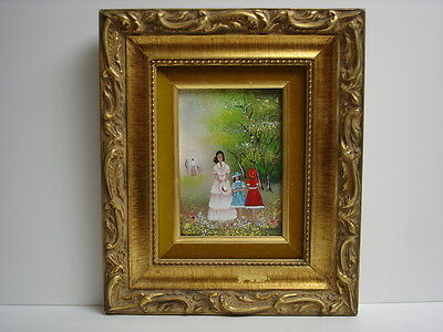 "K. Munsing Vintage French Enamel Painting on Copper ""In The Park"" w/COA"