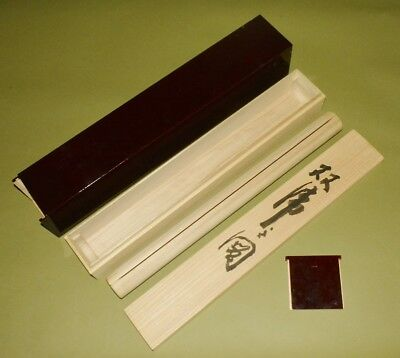 """Hanging Scroll Sturdy Wooden BOX Japanese 60.6cm/ 23.9"""" wood Double storage b954"""