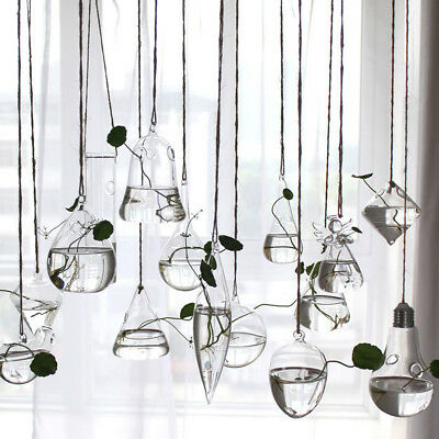Home Garden Clear Glass Flower Hanging Vase Planter Terrarium Container Gadgets