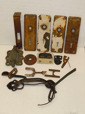 Antique Lot of 10 Door Lock Hardware Brass Key Hole Covers Vintage Rusty Relics