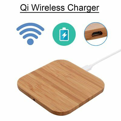 Wireless Qi Charger Bamboo Wood Mat Pad For Apple iPhone8/8 Plus iPhoneX S7 S8 G