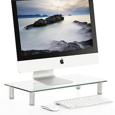 Fitueyes Clear Computer Monitor Riser Save Space Glass Laptop TV Desktop Stand