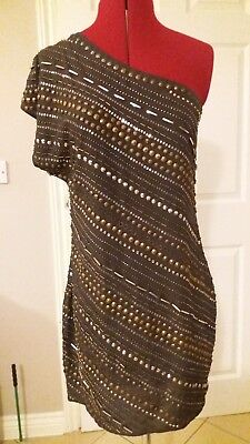 Warehouse Ladies grey fully beaded one shoulder dress size 10