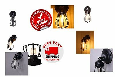 BEAUTIFUL Retro Wall Sconce Vintage Black Metal Wire Cage Light Adjustable NEW