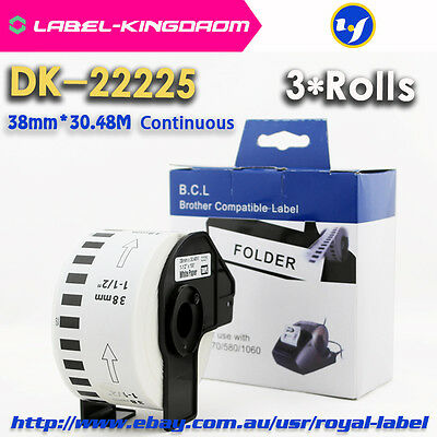 3 Rolls Brother Compatible DK-22225 Labels Stickers All Come With Plastic Holder