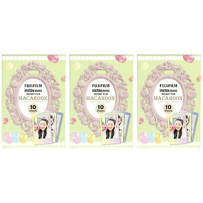3 Packs 30 Photos Macaroon FujiFilm Fuji Instax Mini Film Polaroid 7S 8 50S SP-2