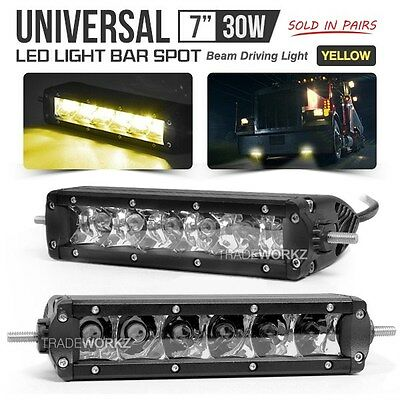"Pair Universal 7"" 30W Off Road Truck 4x4 Driving Light Spot Yellow LED Fog Lamp"
