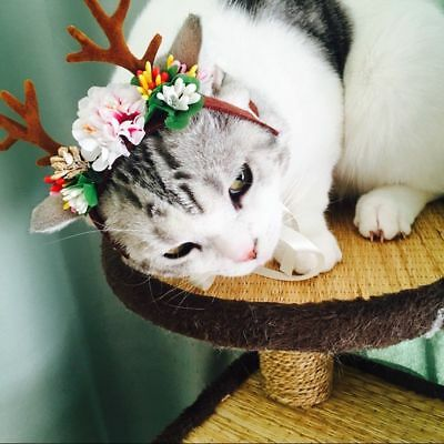 Christmas Reindeer Pet Cat Dog Caps Antlers Headband with Flowers Xmas Cosplay