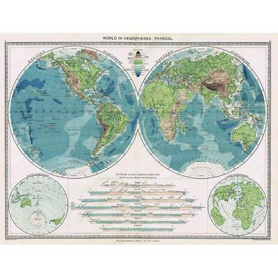 Antique Map 1906 - World in Hemispheres - Physical - Harmsworth Atlas