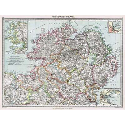 Antique Map 1906 - North of Ireland - Harmsworth Atlas