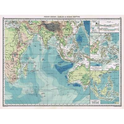 Antique Map 1906 - Indian Ocean Cables & Ocean Depths - Harmsworth Atlas