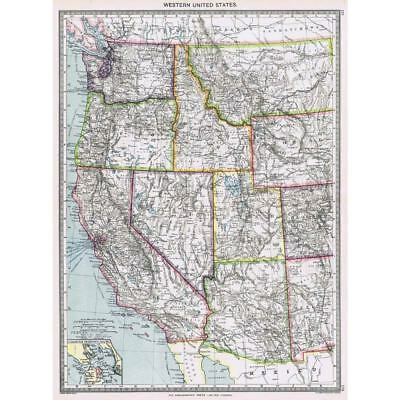 Antique Map 1906 - Western United States of America - Harmsworth Atlas